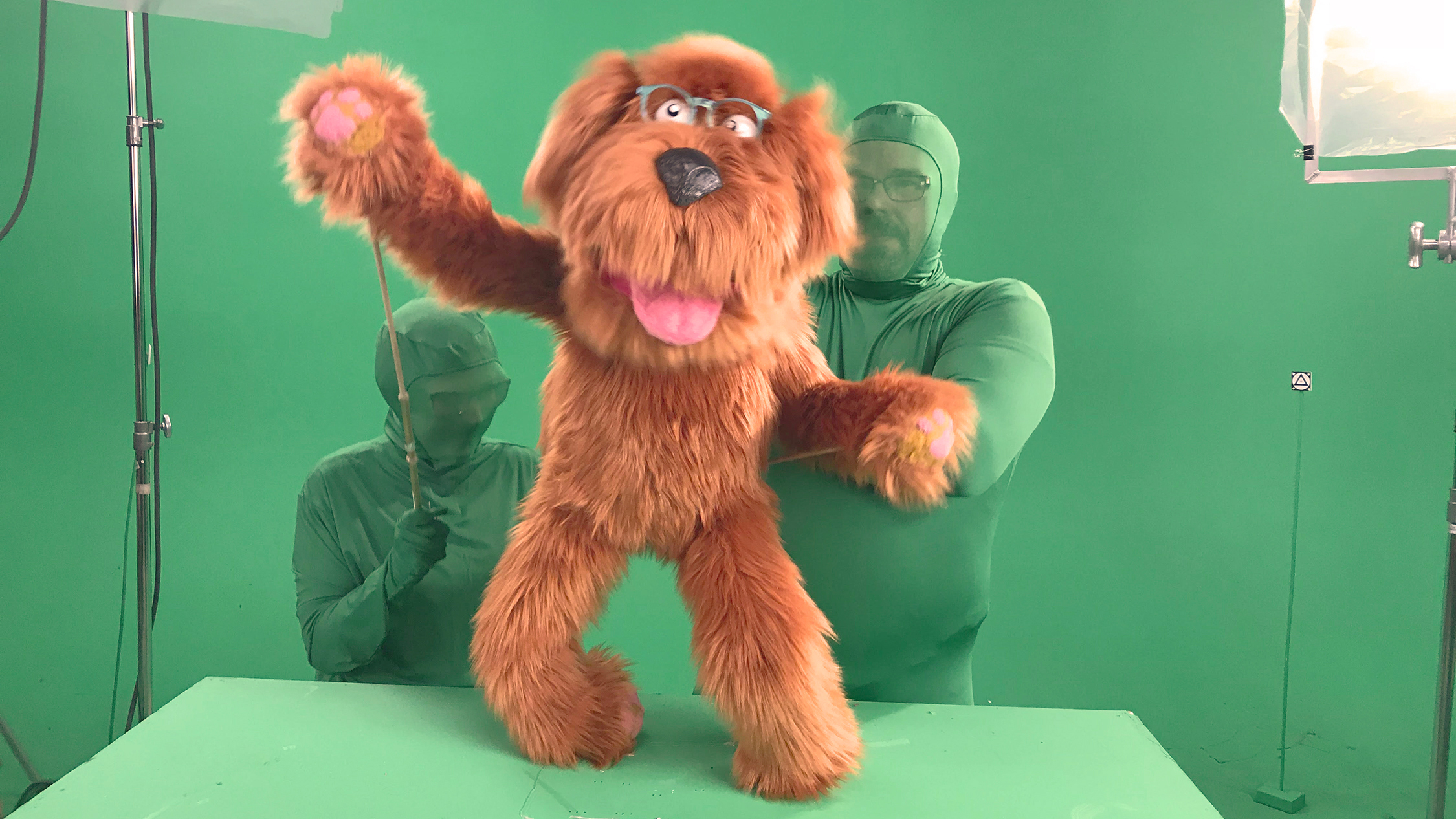 The Fuzzy Dog puppet takes a moment to wave to his fans @ Bent Image Lab, our kanine star from Honda Dream Commute.